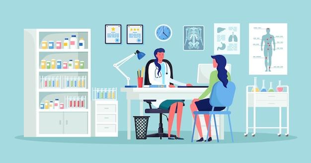 Arzt und patient am schreibtisch im krankenhausbüro. klinikbesuch zur untersuchung, treffen mit dem arzt, gespräch mit dem arzt über die diagnoseergebnisse Premium Vektoren
