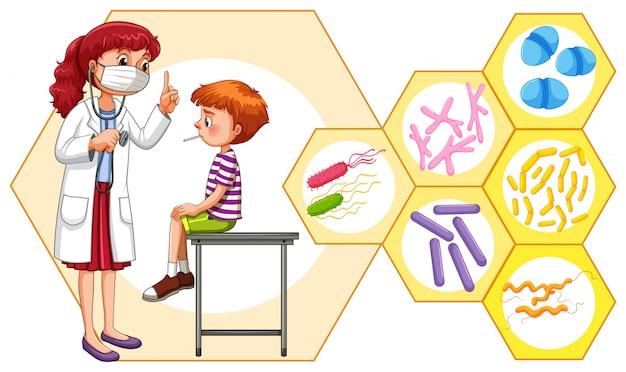 Arzt und patient mit virus Kostenlosen Vektoren