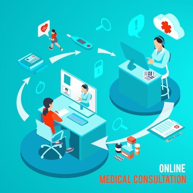 Arzt und patient während der medizinischen online-beratung durch computerisometrische vektorillustration Kostenlosen Vektoren