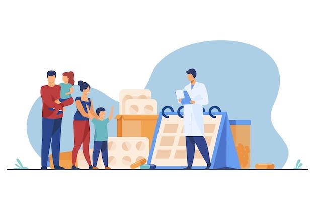 Arzt verschreibt medikament an glückliche familie. kinderarzt, eltern, kinder flache illustration Kostenlosen Vektoren