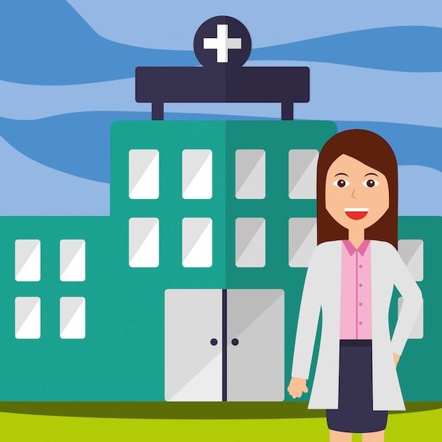Arzt weibliches personal professionelles krankenhausgebäude Premium Vektoren