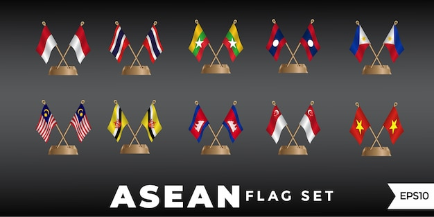 Asean-flaggendesign-schablonenvektor Premium Vektoren