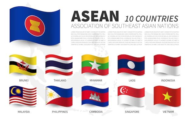 Asean. verband südostasiatischer nationen und mitgliedschaft. wehende fahnen design. südostasien karte Premium Vektoren