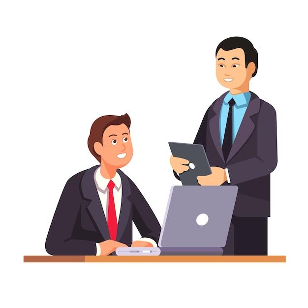 Asian hr manager begrüßt neue mitarbeiter Kostenlosen Vektoren