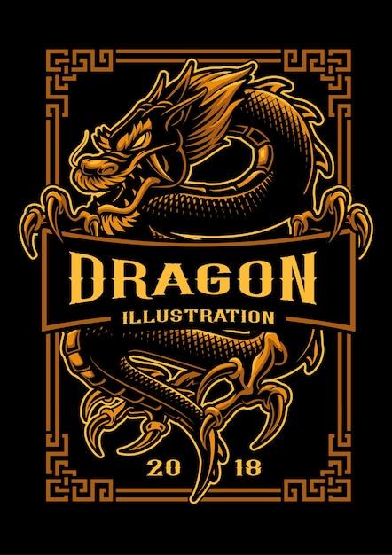 Asiatische drachenillustration. shirt grafiken. alle elemente und textfarben befinden sich auf der separaten ebene und können bearbeitet werden. Premium Vektoren
