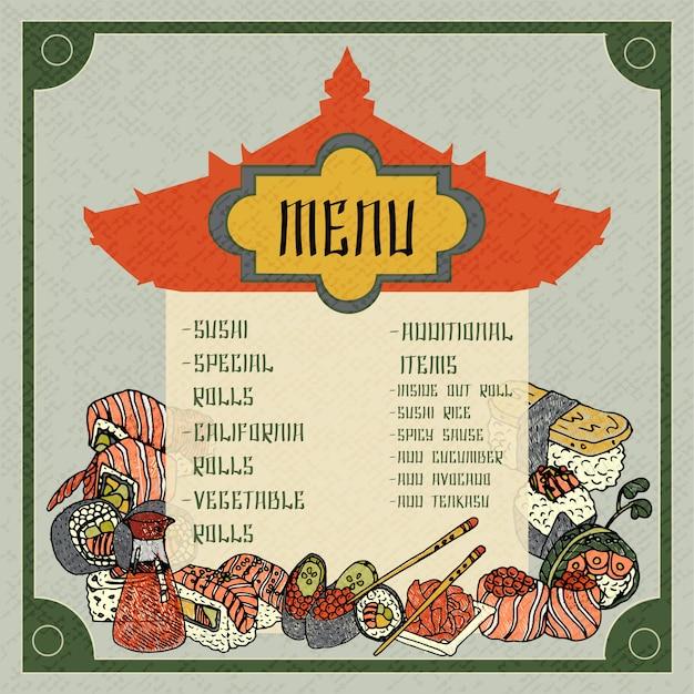 Asiatische essen menüvorlage Kostenlosen Vektoren