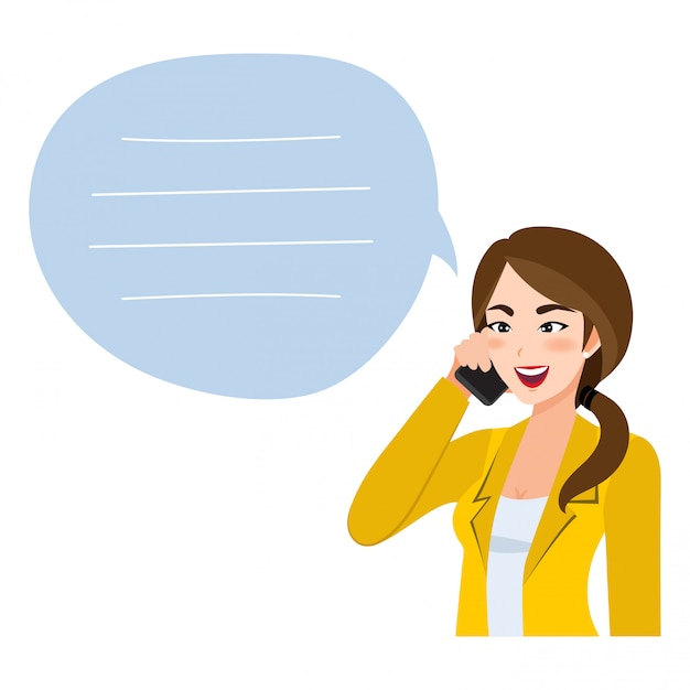 Asiatische geschäftsfrau, die auf handy spricht. illustration in einem stil Premium Vektoren