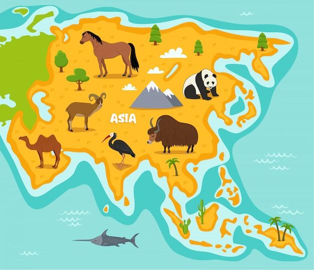 Asiatische karte mit tieren der wild lebenden tiere Premium Vektoren