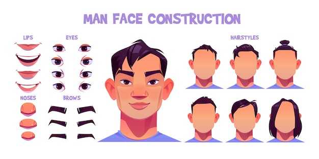 Asiatische manngesichtskonstruktion, avatar-schöpfung mit auf weiß isolierten kopfteilen. vektor-cartoon-satz von männlichen charakteraugen, nasen, frisuren, brauen und lippen. hautpackung Kostenlosen Vektoren