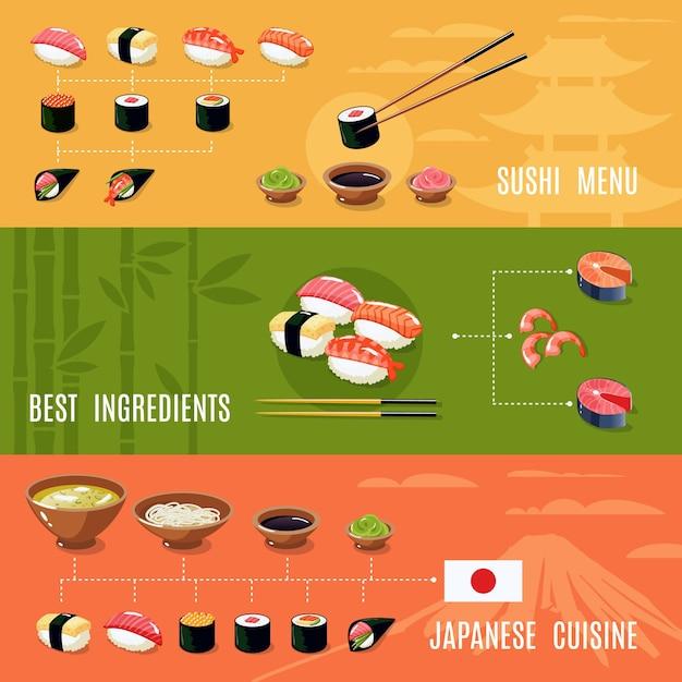 Asiatische nahrungsmittelfahnen Kostenlosen Vektoren