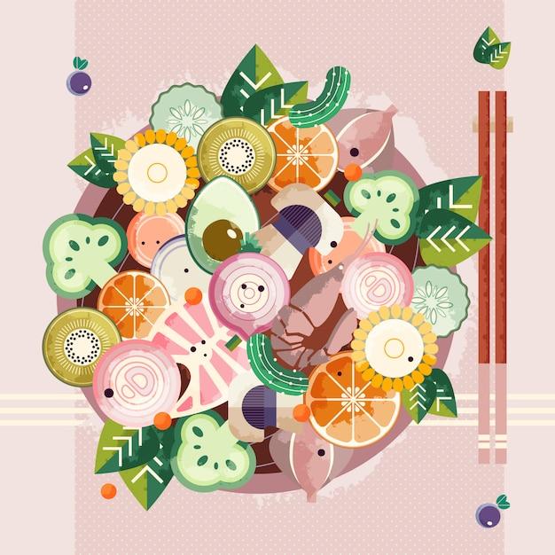 Asiatische nahrungsmittelschüssel mit essstäbchen Premium Vektoren