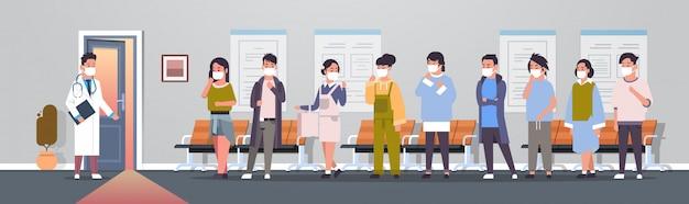 Asiatische patienten in masken beim arzt coronavirus-infektion epidemie mers-cov-virus medizinische beratung 2019-ncov pandemie gesundheitsrisiko krankenhaus korridor innenraum in voller länge horizontal Premium Vektoren