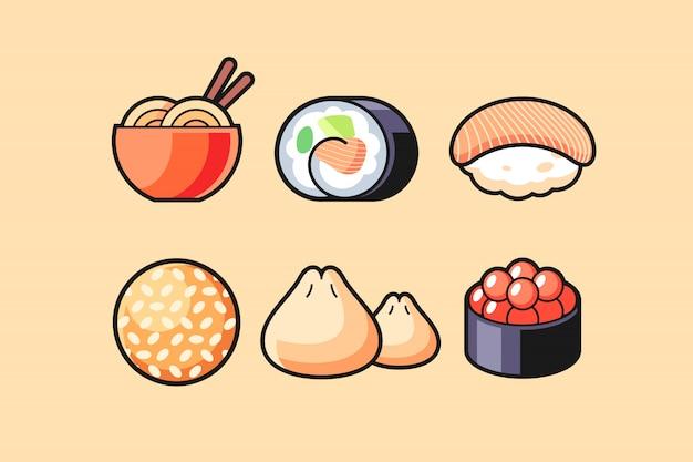 Asiatischer lebensmittelsymbolsatz Premium Vektoren