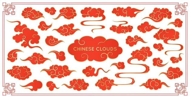 Asiatischer wolkenrotsatz. traditionelle bewölkte verzierungen im chinesischen, koreanischen und japanischen orientalischen stil Premium Vektoren