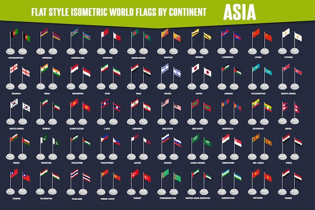 Asien-land-flache art-isometrische flaggen Premium Vektoren