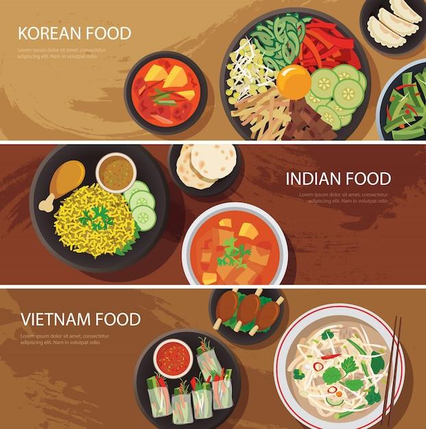 Asien-straßennahrungsnetzfahne Premium Vektoren
