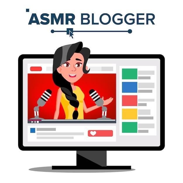 Asmr-blogger-kanal Premium Vektoren