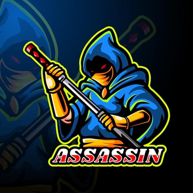 Assassin esport logo maskottchen vorlage Premium Vektoren