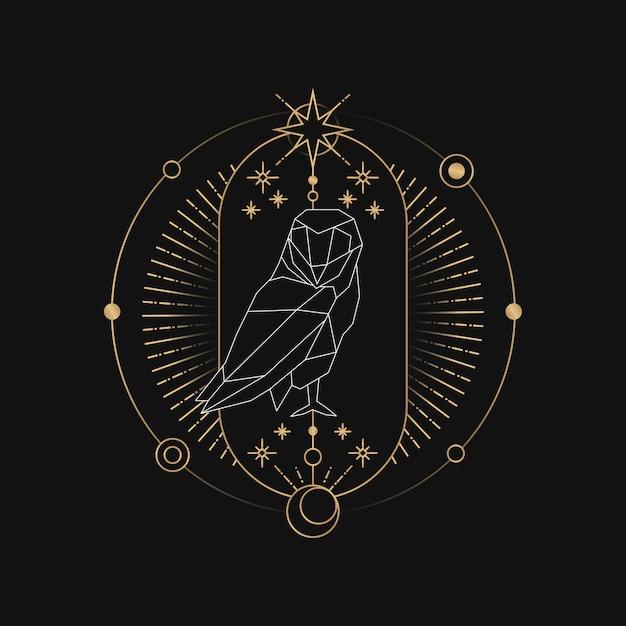 Astrologische tarotkarte der geometrischen eule Kostenlosen Vektoren