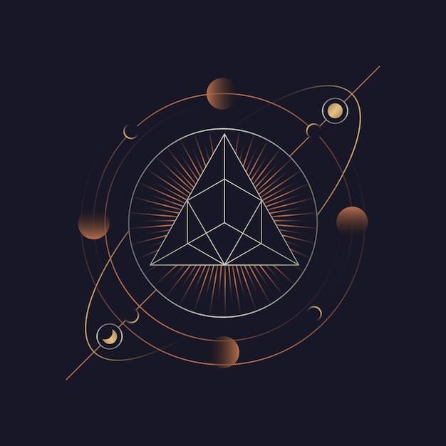 Astrologische tarotkarte der geometrischen pyramide Kostenlosen Vektoren