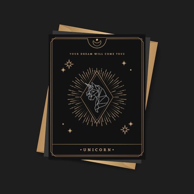 Astrologische tarotkarte des geometrischen einhorns Kostenlosen Vektoren