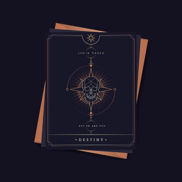 Astrologische tarotkarte des geometrischen schädels Kostenlosen Vektoren