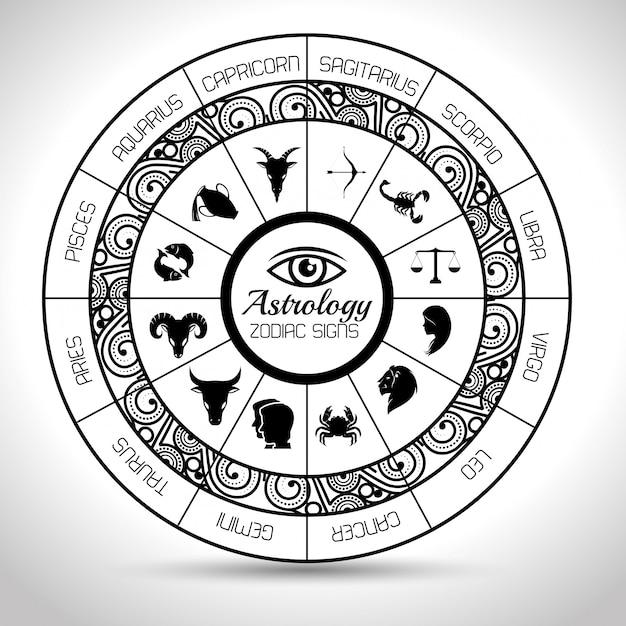 Astrologische zeichen des tierkreises Premium Vektoren