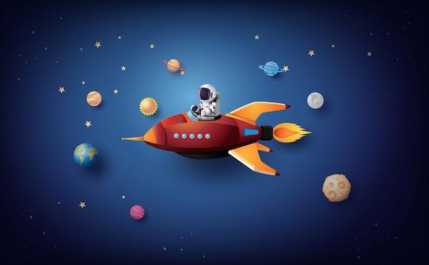 Astronaut astronaut, der in der stratosphäre schwimmt. papierkunst und handwerksstil. Premium Vektoren
