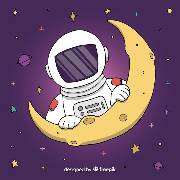 Astronaut auf mondhintergrund Kostenlosen Vektoren