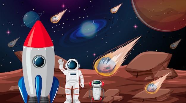Astronaut auf planetenszene Kostenlosen Vektoren