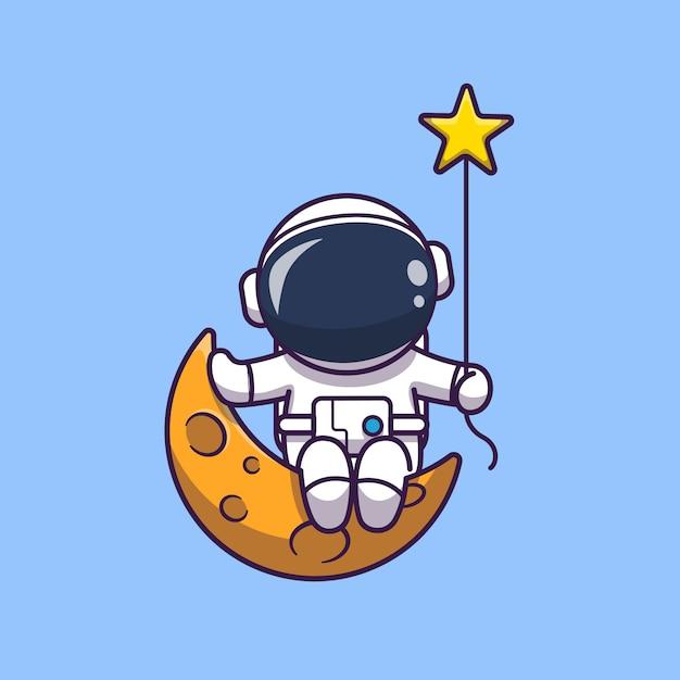 Astronaut, der auf mond-symbol-illustration sitzt. raumfahrer maskottchen zeichentrickfigur. wissenschafts-ikonen-konzept isoliert Premium Vektoren