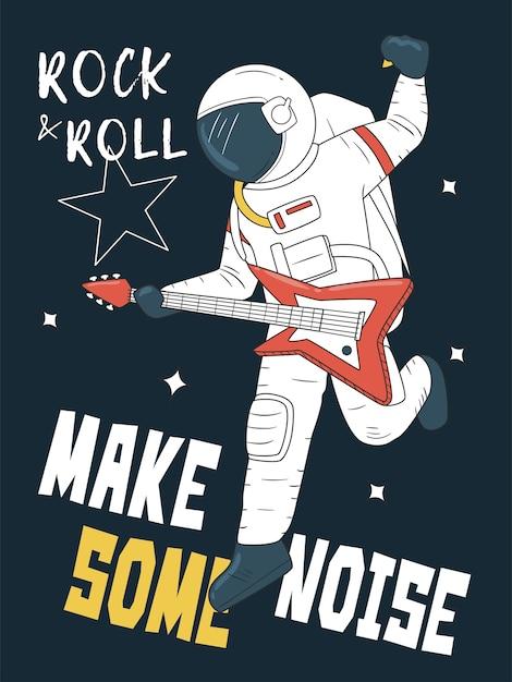 Astronaut, der gitarre im raum spielt Premium Vektoren