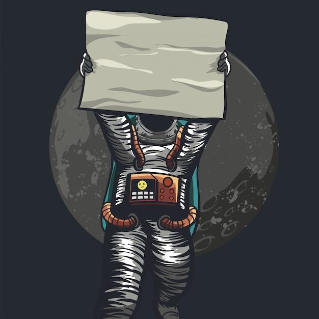 Astronaut, der papier für protest hält Premium Vektoren