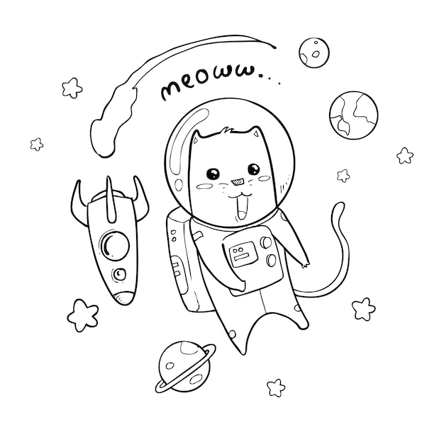 Astronaut hand gezeichnet Premium Vektoren