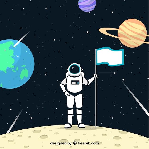 Astronaut hintergrund auf dem mond mit einer flagge Kostenlosen Vektoren