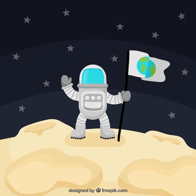 Astronaut hintergrund auf dem mond Kostenlosen Vektoren