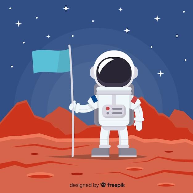 Astronaut hintergrund im weltraum Kostenlosen Vektoren