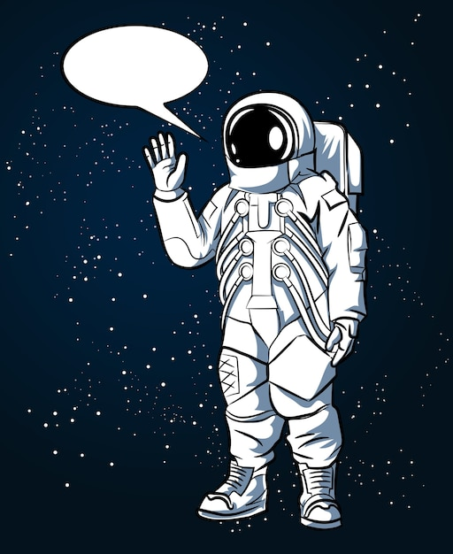 Astronaut im raumanzug im handgezeichneten stil im weltraum und in den sprechblasen. raumfahrer und wissenschaft, helmvektorillustration Kostenlosen Vektoren