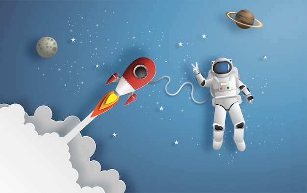 Astronaut im weltall Premium Vektoren