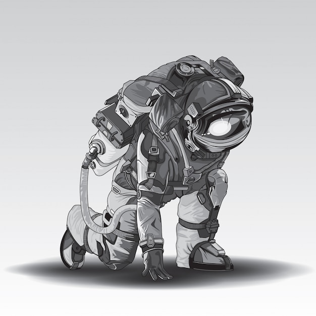 Astronaut im weltraumanzug Premium Vektoren