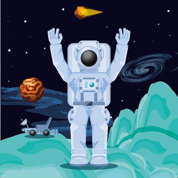 Astronaut im weltraumcharakter Premium Vektoren