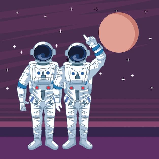 Astronaut in den raumforschungskarikaturen lokalisiert Premium Vektoren