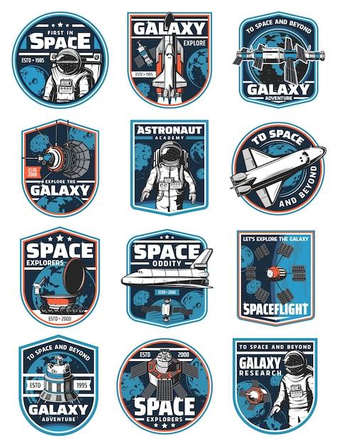 Astronaut in der galaxie, rakete im weltraum. etiketten der kolonisationsmission Premium Vektoren