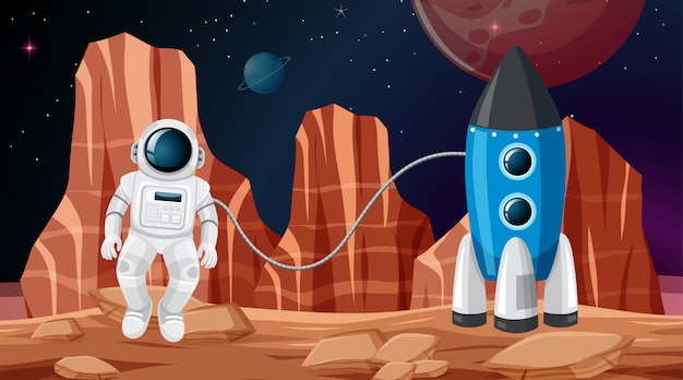 Astronaut in der raumszene Kostenlosen Vektoren