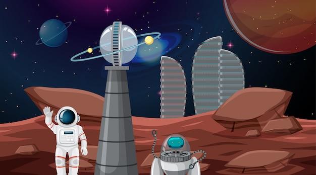 Astronaut in der weltraumstadt Kostenlosen Vektoren