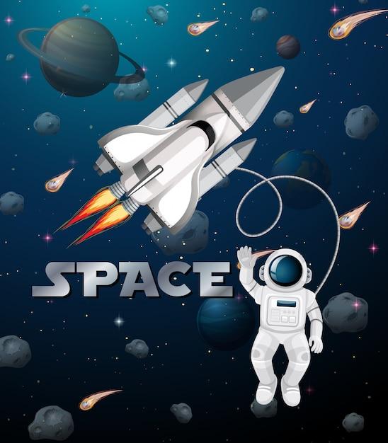 Astronaut in der weltraumszene Kostenlosen Vektoren