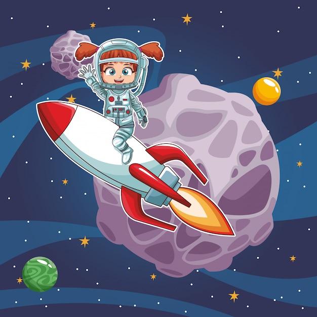 Astronaut mädchen im raum Premium Vektoren