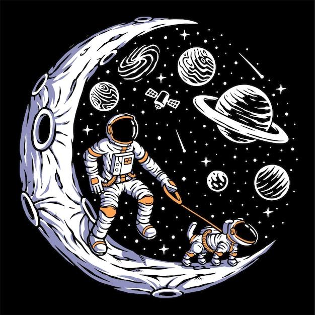 Astronaut mit seinem hund auf dem mond isoliert auf schwarz Premium Vektoren