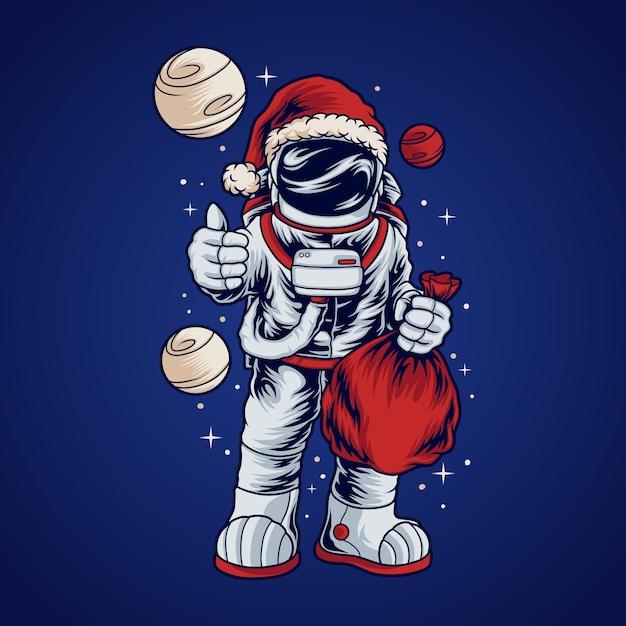 Astronaut santa Premium Vektoren
