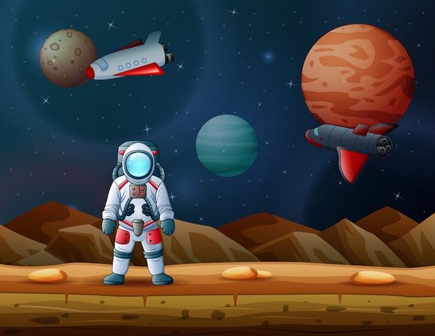 astronaut und rakete landeten auf einem mond mit